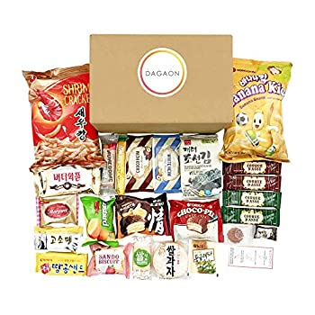 Dagaon Favorite Korean Snack Box 24 Count - Appetizing Gift and Care Package for any occasions and everyone Variety of Korean Treats Including Top Picked Chips Biscuits Cookies Pies Candies.