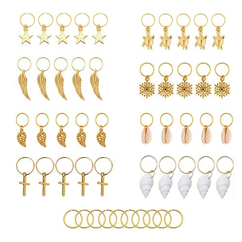 50 Stück Haarnadel Ring Haarnadel Clip Gold Ring Shell Leaf Star Anhänger Ring Set, Ring Metall Stirnband Kupfer Haare Flechten und Anhänger Charme Haarspange Kopfbedeckungen Zubehör (Gold)