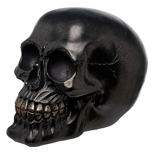 NAMENLOS Metallisch glänzender, schwarzer Gothic-Totenkopf | Fantasy Skull, Totenschädel, Kopf-Skulptur, Statue, Figur, H 12 cm