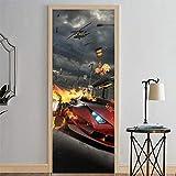 IJBSDJI Türfolie Türposter Fototapete Türtapete Rotes Auto Auf Feuer Wandaufkleber Tür Aufkleber Tapete Abziehbilder Dekoration