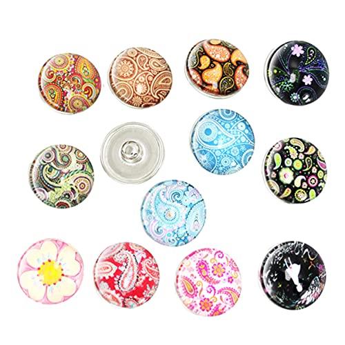EXCEART Brazaletes Redondos de Cristal Colgantes Botones de Joyería con Diseños Mixtos para Hacer Joyas 30 Piezas