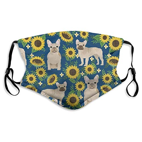 Balaclava Adults/Kids Windproof Dust Custom Face Mask Cover For Home & Office, French Bulldog Sunflowers Shield Made In Usa