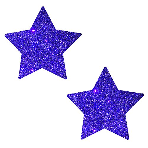 Neva Nude Purple Rain Glitter Star Nipztix Pasties Nipple Covers for Festivals, Raves, Parties, Lingerie and More, Medical Grade Adhesive, Waterproof and Sweatproof, Made in USA