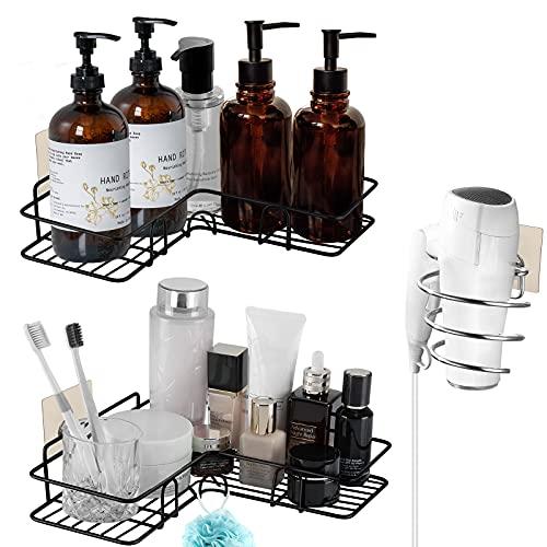 WECVLAG Corner Shower Caddy Bathroom Shelf - 2 Pack No Drilling Shower Storage Organizer Shelves & 1 Pack Hairdryer Holder | Rust Proof Shower Rack Basket Shampoo Holder with 10 Adhesive Hooks