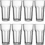 Glas 12 Unzen, Encheng transparentes High Ball Glas Saftglas, Küche altmodisches Cocktailglas Trinkglas, Standard Basis Trinkglas Becherglas Trinkglas Bierglas 8-teiliges Set