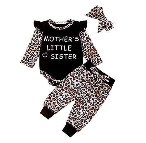 Jimmackey Pagliaccetto Neonato Invernale Leopardo Stampa Volant Floreali Tutina Bambino Inter + Leopardo Pantaloni Abiti Set