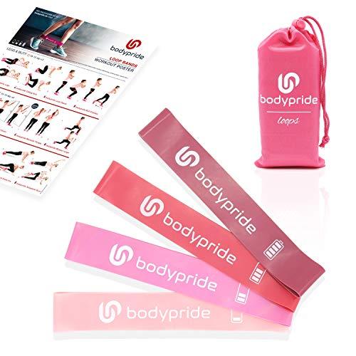 BODYPRIDE Premium Fitness Loop Bands | Fitnessbänder [ 4er Set ] Widerstandsbänder Lady Set Pink | Reißfester Naturlatex | Resistance Bands + Praktischer Transportbeutel | Workout-Poster + E-Book