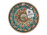 Ceramica rambilena | Piatto decorativo da appendere a parete | Piatto in ceramica | Rosso-Verde-Giallo | 100% fatto a mano | 21 x 21 x 4 cm