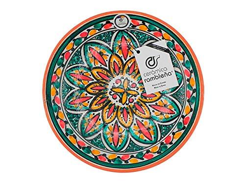 CERÁMICA RAMBLEÑA | Plato Decorativo para Colgar en Pared | Plato de cerámica | Rojo-Verde-Amarillo | 100% Hecho a Mano | 27x27x4,5 cm