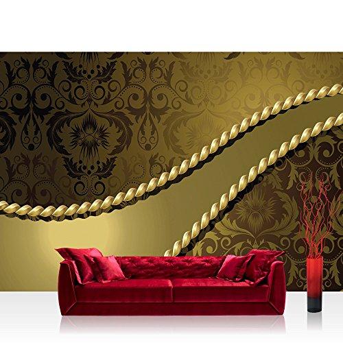 Vlies Fototapete 400x280 cm PREMIUM PLUS Wand Foto Tapete Wand Bild Vliestapete - Ornamente Tapete Seil Barock Gold Edel gold - no. 276