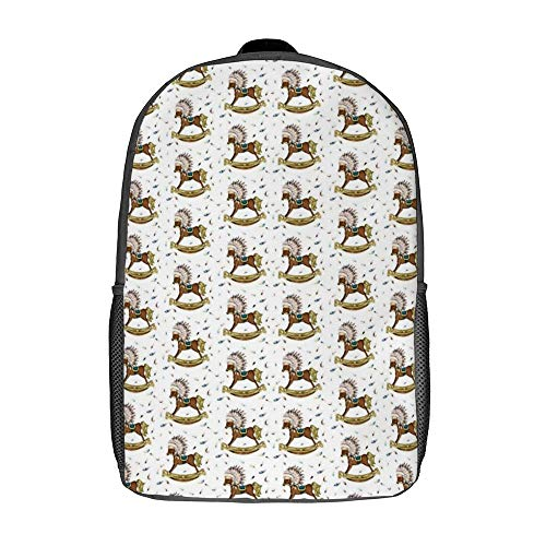 Travel Laptop Backpack for Kids Students Ideal for Overnight Trip Boho Rocking Horse Pattern Comfortable 17 Inch Multi-Purpose Rucksack