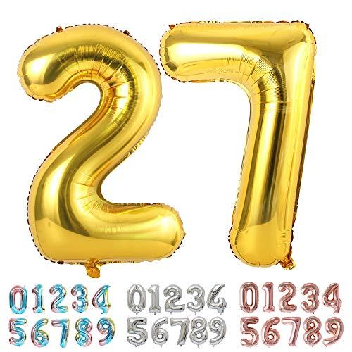 Ponmoo Foil Globo Número 27 72 Dorado, Gigante Numeros 0 1 2 3 4 5 6 7 8 9 10-19 20-29 30 40 50 60 70 80 90 100, Grande Globos para La Boda Aniversario, Globo de Cumpleaños Fiesta Decoración