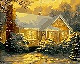 Gofission Paint by Numbers Cabin Trees Snow, 40,6 x 50,8 cm Lienzo DIY Kit de pintura numérica (Cabina, sin marco)