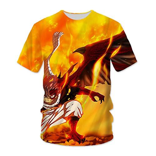 WOWOWO Fairy Tail T-Shirt Natsu Dragneel 3D-gedrucktes Anime-Muster-T-Shirt Unisex-Short Sleeve Cosplay Rundhalsausschnitt Tops Sweatshirts, Für Die Tägliche Casual/Party -YW021(Size:X-Large)