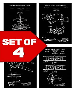 Black Vintage Airplane Patents Set! Four 8x10 Aviation Themed Mens Wall Decor Art Prints Great for Office Home Living Room Bachelor Pad or Barbershop Decoration! Designed exclusively for Wallables