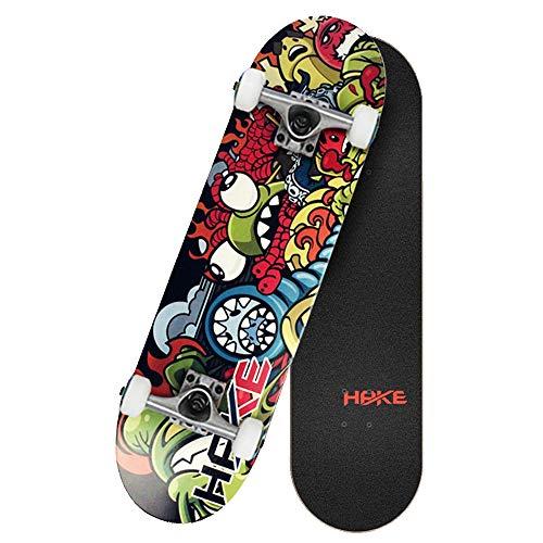 Axdwfd Longboard Skateboard, Anfänger 4 Round Double Kick Action Erwachsene Jungen und Mädchen Professional Brush Street Kinder Skateboard (Color : A)