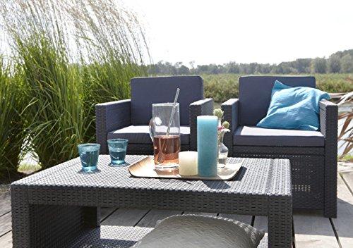 Koll Living Lounge Set Korsika in anthrazit, inkl. Sitzauflagen & Rückenkissen, langlebiger & wetterfester Kunststoff in Rattanoptik, 2 Sessel + 1 Sofa + Tisch - 3