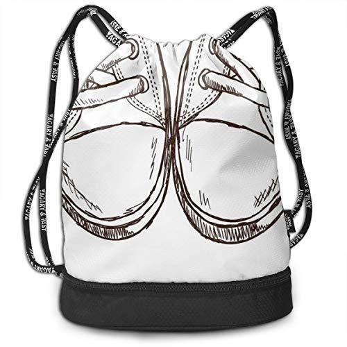 DPASIi Drawstring Backpacks Daypack Bags,Sneakers In Hand Drawing Style Casual Footwear Teenager Urban Lifestyle Theme,Adjustable String Closure