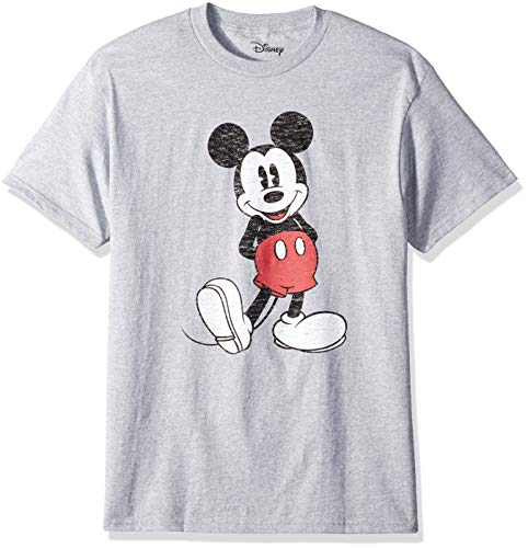 Disney Men's Full Size Mickey Mouse Distressed Look T-Shirt, Heather Grey, Small