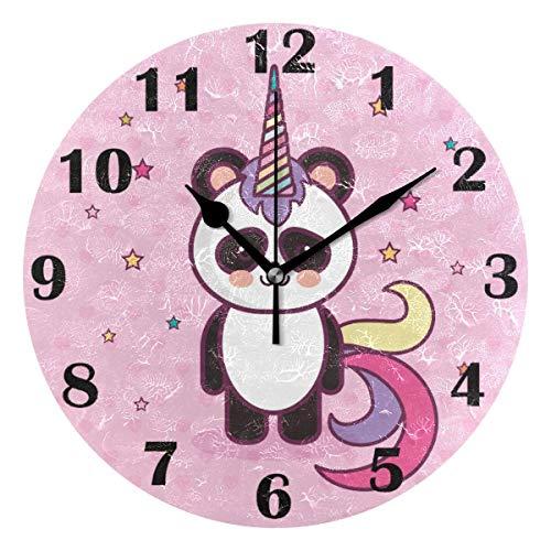 Jacque Dusk Reloj de Pared Moderno,Animales Panda Unicornio Galaxy Star Rainbow,Grandes Decorativos Silencioso Reloj de Cuarzo de Redondo No-Ticking para Sala de Estar,25cm diámetro