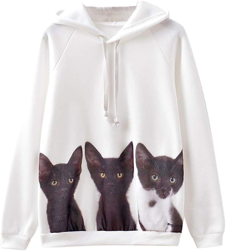 Girls' Hoodie, Misaky Pullover Sweatshirt Casual Loose Three Cute cat Prints Long Sleeve Hooded Blouse