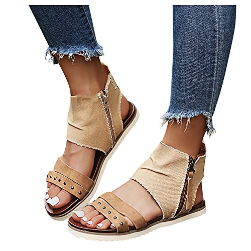AIchenYW Frauen Weicher Boden Reißverschluss Sandalen Retro-römischer Stil Strandschuhe Rutschfest Einfarbig eben Reißverschluss Kette Damen Schuhe