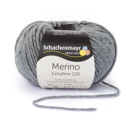 Schachenmayr Merino Extrafine 120 9807552-00192 mittelgrau meliert Handstrickgarn, Schurwolle