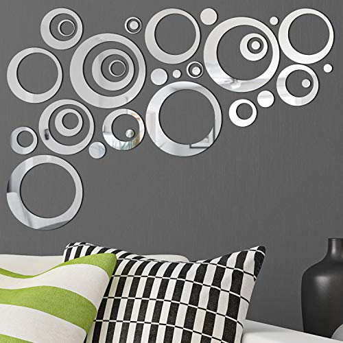 Removable Wall Sticker Decal Acrylic Mirror Setting for Home Living Room Bedroom Decor (1.5-13.5 cm, 32 Pieces)