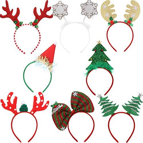 Makone Cerchietti Ncatalizi, Costume Nastri per Capelli Elfi Cappelli da Festa Accessori Regali per le Vacanze di Natale (8 PCS)