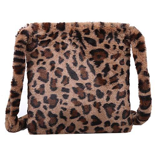 ROSELI Leoparden Muster PlüSch Damen Umh?Nge Tasche Mode Retro Warme Hand Tasche Gro?E Kapazit?T L?Ssige Umh?Nge Tasche