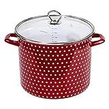 Original Steinbach Kochtopf Coletto 26cm | mit Deckel | rot mit weißen Punkten | Suppentopf Induktion | Emaillierter Carbonstahl | Innenskalierung | Gemüsetopf