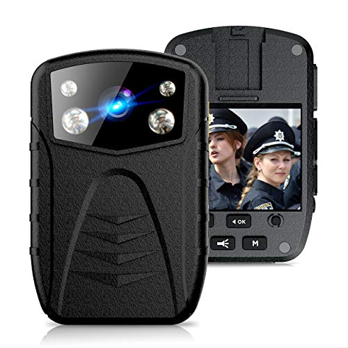 Latest Generation 2021   Dododuck 1296P HD Police Body Camera with Audio   64GB Memory Included   Large 3500 mAh Battery   IP57 Waterproof   Sony IMX 323 Sensor   Night Vision   2 Inch Screen
