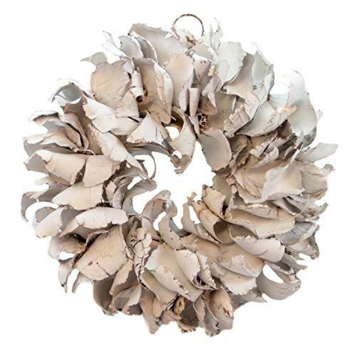 COURONNE Türkranz mit Aufhängevorrichtung 25cm in weiß, gefertigt aus Palmblättern - Deko aus Naturmaterialien als Herbstdeko im Shabby chic Design