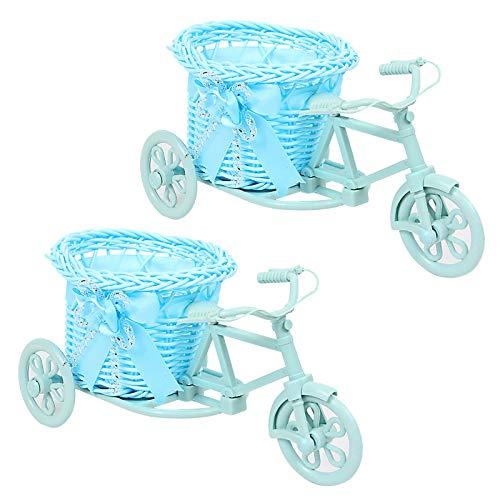 LdawyDE Mini Cesta de Almacenamiento Cestas de Almacenamiento Tejidas Nostálgico Hecho a Mano Bicicleta Jarrón de Ratán Canasta Decoración Soporte de Planta Mini Cesta para Decoración Paquete de 2