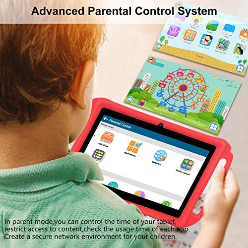 Xgody T702 7 Inch Android Kids Tablet PC for Kids Internet Class Quad Core Android 8.1 1GB RAM 16GB ROM Touch Screen with WiFi Pre-Loaded 3D Game Dual Camera, Kids-Proof Toddler Tablets Red