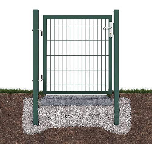Defacto - Cancello da giardino, con maniglia di alta qualità, serratura e chiavi, 100 x 120 cm, altezza 120 cm, colore: Verde