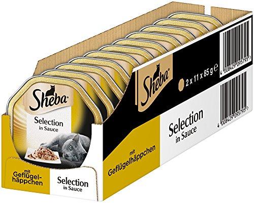 Sheba - Cibo per Gatti, Selezione di Cibo Umido in Salsa, 22 Ciotole (2 x 11 x 85 g)