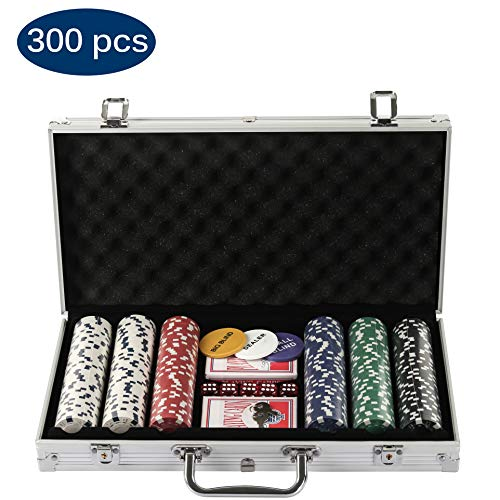 Grandma Shark Texas Hold'em Poker Chips mit Alumium Case Blackjack Gambing mit Carying Case und Casino Chips 2 Kartenspiele Dealer Small Blind Big Blind Buttons und 5 Würfel (300 pcs)