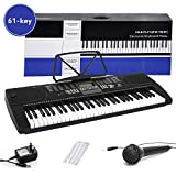 Digital Electric Piano 61-Key Portable Electronic Keyboard with Power Adapter, Sheet Music Stand for Beginners (Kids & Adults) Includes Microphone and Keyboard Sticker