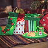 The Queen's Treasures 18 Inch Doll Accessories, Christmas Play Set Includes 3 Gift Boxes, Stocking, Platter, Mug & Cookies for Santa. Compatible for Use with American Girl Doll