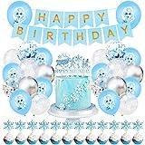 Frozen Fiesta Cumpleaños Decoración - YUESEN Azul Fiesta Guirnalda de Globos Cake Cupcake Topper Banner para Niñas Frozen Cumpleaños Fiesta Suministros 50PCS