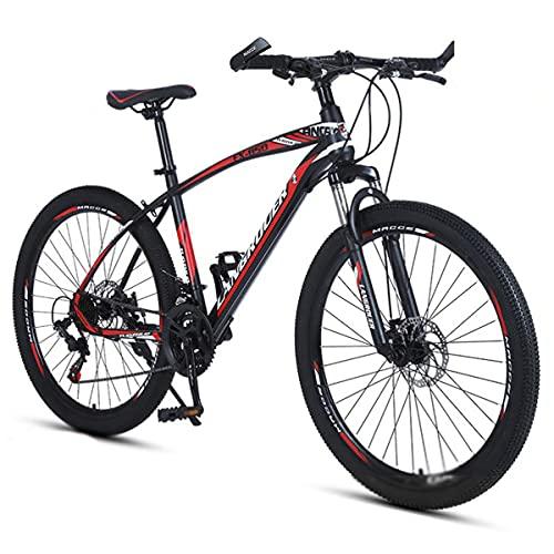 Bicicleta Montaña Adultos Bicicleta De Montaña Bicicleta De Acero De Carbono 21/24/27 Ruedas De Llanta De Aleación De Velocidad Con Freno De Disco Oculto Y Resplanquilla Con (Size:21 Speed,Color:rojo)