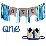 Baby 1st Birthday Boy Decorations WITH Crown - Baby Boy First Birthday Decorations High Chair Banner - Cake Smash Party Supplies - Happy Birthday ONE Burlap Banner, No.1 Gold and Blue Crown