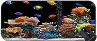 長いXXLマウスパッド、個性滑り止めゴムベースマウスパッドのいっぱい熱帯魚のテーマ