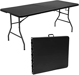 Goplus 6' Folding Table Indoor Outdoor Dining Camp Table Portable Plastic Picnic Table with Rounded Corners & Handle