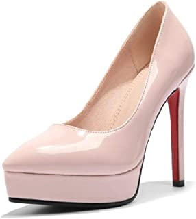 Solid Color Pointed Patent Leather High Heels For Banquet Wedding Dress Daily (Color : A, Size : 37)