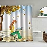 Rideau de Douche Cartoon Girl Blue Sky Under Yellow Tree Lady Sitting on Bench Reading Book Falling Leaves Imperméable à l'eau Doublures de Bain Crochets Inclus - Idées décoratives de Salle de Bain