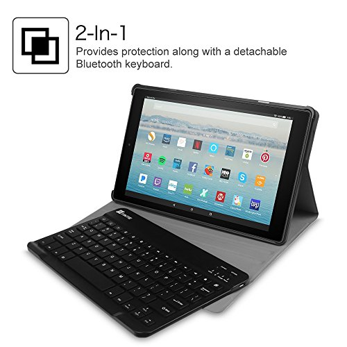 Fintie Keyboard Case for All-New Fire HD 10 (Compatible with 7th and 9th Generations, 2017 and 2019 Releases), Slim Lightweight Stand Cover with Detachable Wireless Bluetooth Keyboard, Galaxy