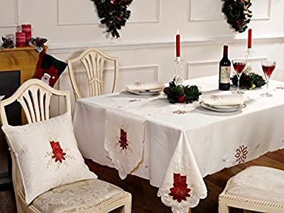 """Cream red gold Christmas Table Cloth with Poinsettia-Candles and Holly Leaves 60"""" x 90"""" inches oblong (152cms x 229cms)"""