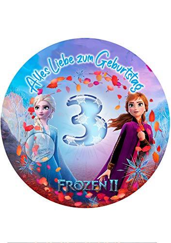 Für den Geburtstag ein Tortenbild, Zuckerbild mit dem Motiv: Frozen Die Eiskönigin, Essbares Foto für Torten, Tortenbild, Tortenaufleger Ø 20cm - Super Qualität, 0251w1 (0251w3)